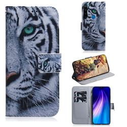 White Tiger PU Leather Wallet Case for Mi Xiaomi Redmi Note 8
