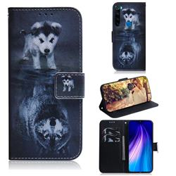 Wolf and Dog PU Leather Wallet Case for Mi Xiaomi Redmi Note 8