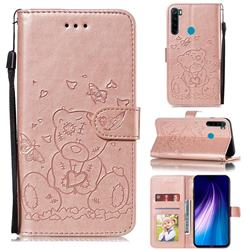Embossing Butterfly Heart Bear Leather Wallet Case for Mi Xiaomi Redmi Note 8 - Rose Gold