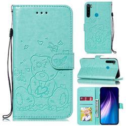Embossing Butterfly Heart Bear Leather Wallet Case for Mi Xiaomi Redmi Note 8 - Green