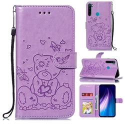 Embossing Butterfly Heart Bear Leather Wallet Case for Mi Xiaomi Redmi Note 8 - Purple