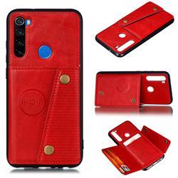 Retro Multifunction Card Slots Stand Leather Coated Phone Back Cover for Mi Xiaomi Redmi Note 8 - Red