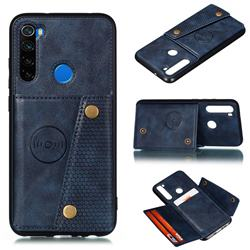 Retro Multifunction Card Slots Stand Leather Coated Phone Back Cover for Mi Xiaomi Redmi Note 8 - Blue