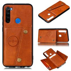 Retro Multifunction Card Slots Stand Leather Coated Phone Back Cover for Mi Xiaomi Redmi Note 8 - Brown