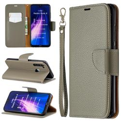 Classic Luxury Litchi Leather Phone Wallet Case for Mi Xiaomi Redmi Note 8 - Gray