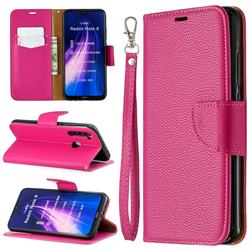 Classic Luxury Litchi Leather Phone Wallet Case for Mi Xiaomi Redmi Note 8 - Rose