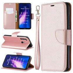Classic Luxury Litchi Leather Phone Wallet Case for Mi Xiaomi Redmi Note 8 - Golden