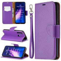 Classic Luxury Litchi Leather Phone Wallet Case for Mi Xiaomi Redmi Note 8 - Purple