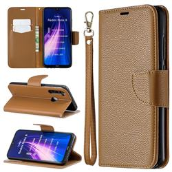 Classic Luxury Litchi Leather Phone Wallet Case for Mi Xiaomi Redmi Note 8 - Brown