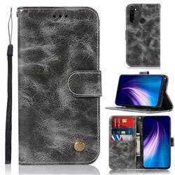 Luxury Retro Leather Wallet Case for Mi Xiaomi Redmi Note 8 - Gray