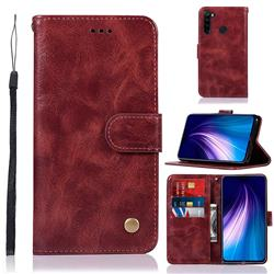 Luxury Retro Leather Wallet Case for Mi Xiaomi Redmi Note 8 - Wine Red