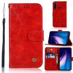 Luxury Retro Leather Wallet Case for Mi Xiaomi Redmi Note 8 - Red