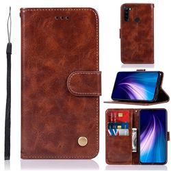 Luxury Retro Leather Wallet Case for Mi Xiaomi Redmi Note 8 - Brown