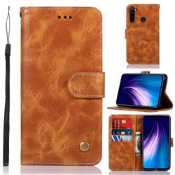 Luxury Retro Leather Wallet Case for Mi Xiaomi Redmi Note 8 - Golden