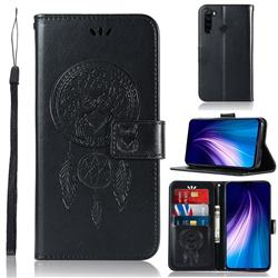 Intricate Embossing Owl Campanula Leather Wallet Case for Mi Xiaomi Redmi Note 8 - Black