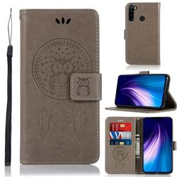 Intricate Embossing Owl Campanula Leather Wallet Case for Mi Xiaomi Redmi Note 8 - Grey