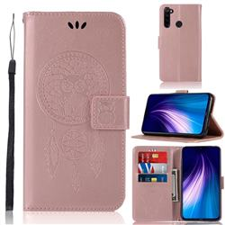 Intricate Embossing Owl Campanula Leather Wallet Case for Mi Xiaomi Redmi Note 8 - Rose Gold
