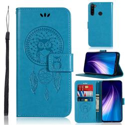 Intricate Embossing Owl Campanula Leather Wallet Case for Mi Xiaomi Redmi Note 8 - Blue