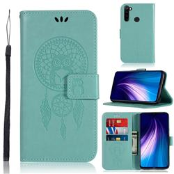 Intricate Embossing Owl Campanula Leather Wallet Case for Mi Xiaomi Redmi Note 8 - Green