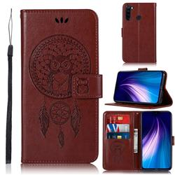 Intricate Embossing Owl Campanula Leather Wallet Case for Mi Xiaomi Redmi Note 8 - Brown