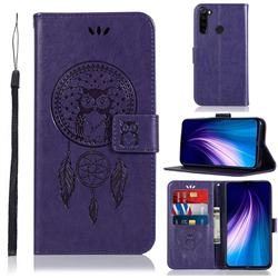 Intricate Embossing Owl Campanula Leather Wallet Case for Mi Xiaomi Redmi Note 8 - Purple