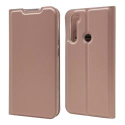Ultra Slim Card Magnetic Automatic Suction Leather Wallet Case for Mi Xiaomi Redmi Note 8 - Rose Gold