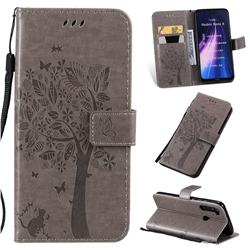 Embossing Butterfly Tree Leather Wallet Case for Mi Xiaomi Redmi Note 8 - Grey