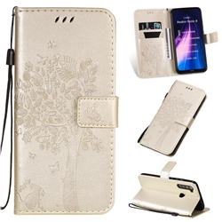 Embossing Butterfly Tree Leather Wallet Case for Mi Xiaomi Redmi Note 8 - Champagne