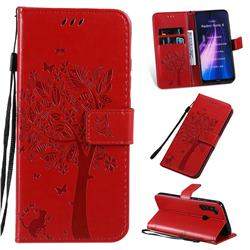 Embossing Butterfly Tree Leather Wallet Case for Mi Xiaomi Redmi Note 8 - Red