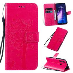 Embossing Butterfly Tree Leather Wallet Case for Mi Xiaomi Redmi Note 8 - Rose
