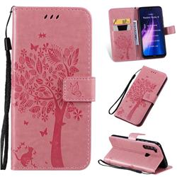 Embossing Butterfly Tree Leather Wallet Case for Mi Xiaomi Redmi Note 8 - Pink