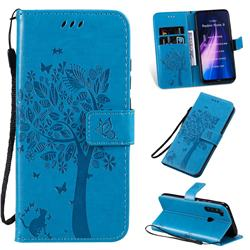 Embossing Butterfly Tree Leather Wallet Case for Mi Xiaomi Redmi Note 8 - Blue