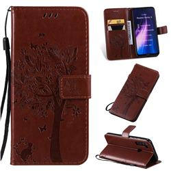 Embossing Butterfly Tree Leather Wallet Case for Mi Xiaomi Redmi Note 8 - Coffee