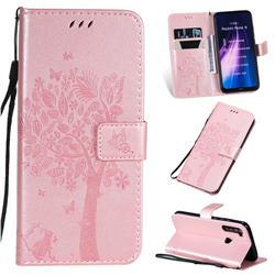 Embossing Butterfly Tree Leather Wallet Case for Mi Xiaomi Redmi Note 8 - Rose Pink