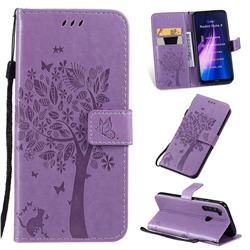 Embossing Butterfly Tree Leather Wallet Case for Mi Xiaomi Redmi Note 8 - Violet