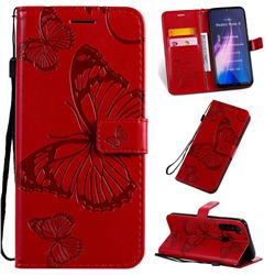 Embossing 3D Butterfly Leather Wallet Case for Mi Xiaomi Redmi Note 8 - Red
