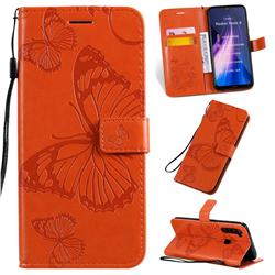 Embossing 3D Butterfly Leather Wallet Case for Mi Xiaomi Redmi Note 8 - Orange