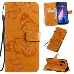 Embossing 3D Butterfly Leather Wallet Case for Mi Xiaomi Redmi Note 8 - Yellow