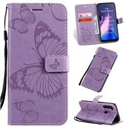 Embossing 3D Butterfly Leather Wallet Case for Mi Xiaomi Redmi Note 8 - Purple