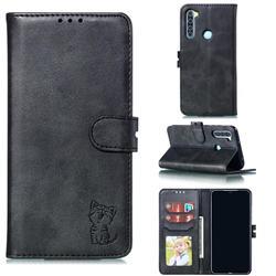Embossing Happy Cat Leather Wallet Case for Mi Xiaomi Redmi Note 8 - Black