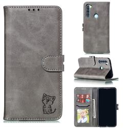 Embossing Happy Cat Leather Wallet Case for Mi Xiaomi Redmi Note 8 - Gray
