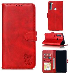 Embossing Happy Cat Leather Wallet Case for Mi Xiaomi Redmi Note 8 - Red