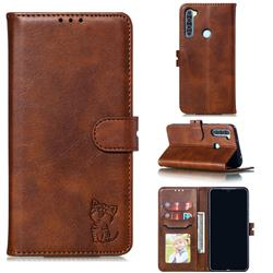 Embossing Happy Cat Leather Wallet Case for Mi Xiaomi Redmi Note 8 - Brown