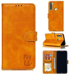 Embossing Happy Cat Leather Wallet Case for Mi Xiaomi Redmi Note 8 - Yellow