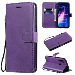 Retro Greek Classic Smooth PU Leather Wallet Phone Case for Mi Xiaomi Redmi Note 8 - Purple