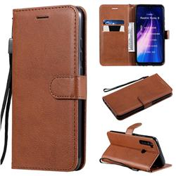 Retro Greek Classic Smooth PU Leather Wallet Phone Case for Mi Xiaomi Redmi Note 8 - Brown