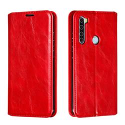 Retro Slim Magnetic Crazy Horse PU Leather Wallet Case for Mi Xiaomi Redmi Note 8 - Red