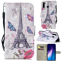 Paris Tower 3D Painted Leather Wallet Phone Case for Mi Xiaomi Redmi Note 8