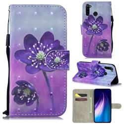 Purple Flower 3D Painted Leather Wallet Phone Case for Mi Xiaomi Redmi Note 8