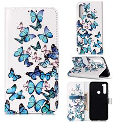 Blue Vivid Butterflies PU Leather Wallet Case for Mi Xiaomi Redmi Note 8
